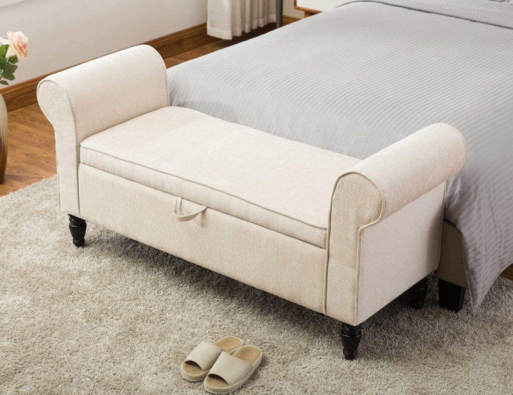 Fabric Upholstered Bedroom Bench Decorative Bench Entryway Hallway Bench