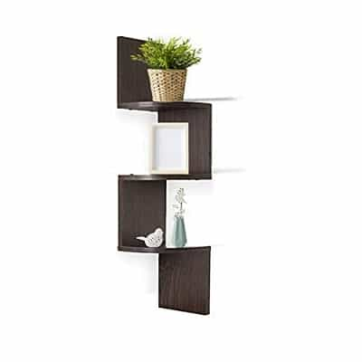 Adorn Home Essentials| Corner Zig Zag Wall Mount Shelves| 3-Tier, Walnut Finish