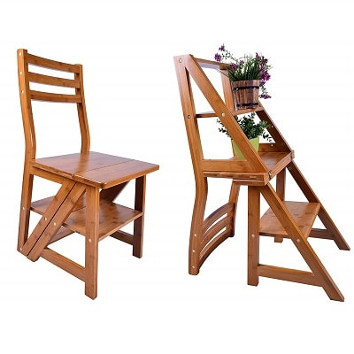AlienTech Natural Wood Multi-Functional Convertible Folding Library Ladder Chair Four-Step Stool