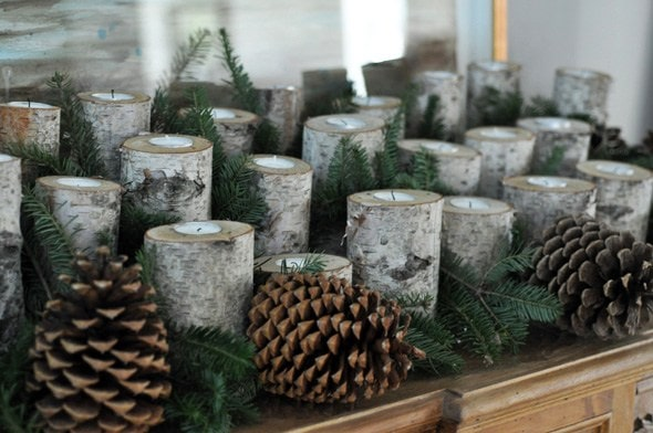 DIY Birch Log Candleholders