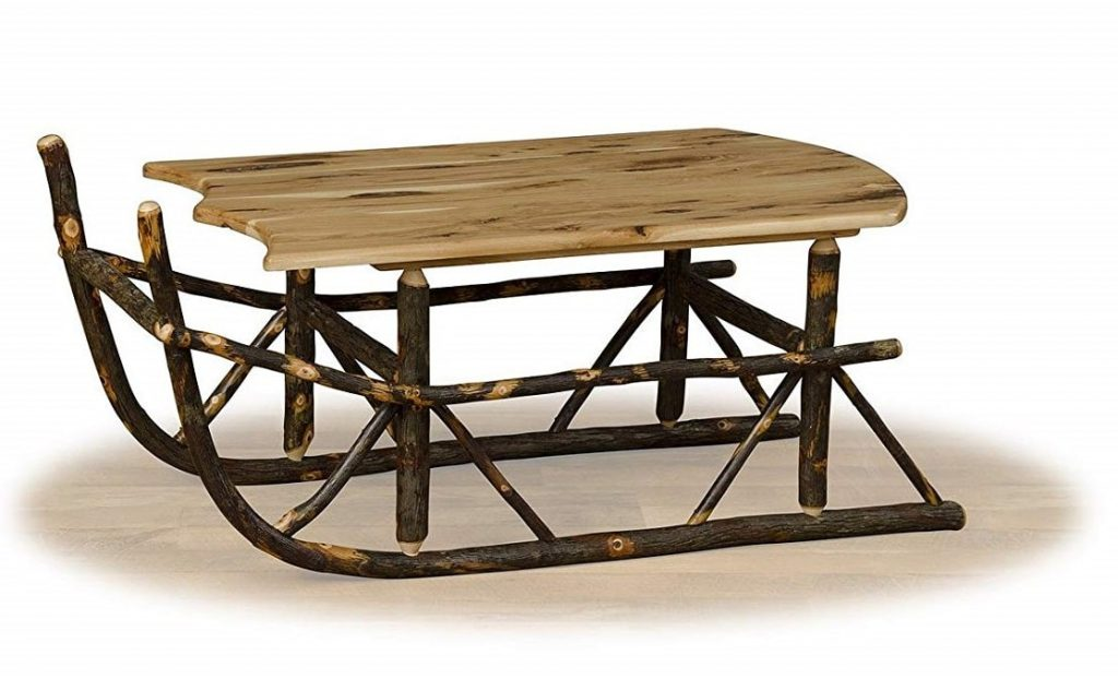 Rustic Hickory Sleigh Coffee Table- ALL HICKORY - Amish Made