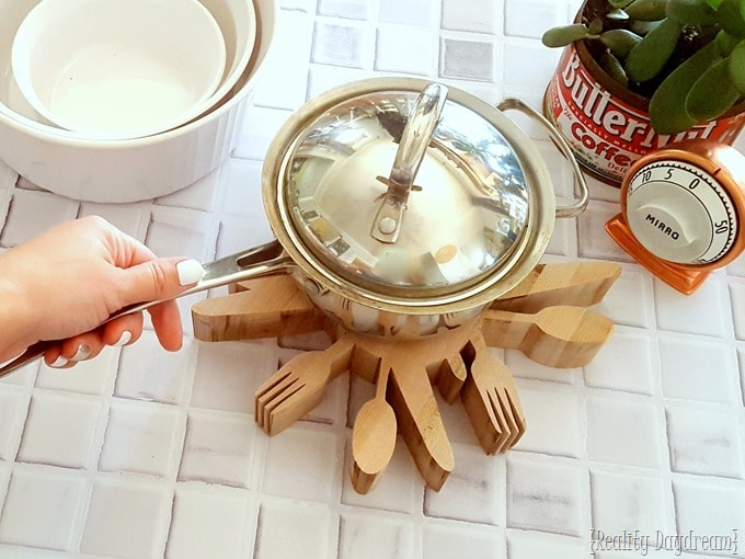 Butcherblock Silverware Trivet