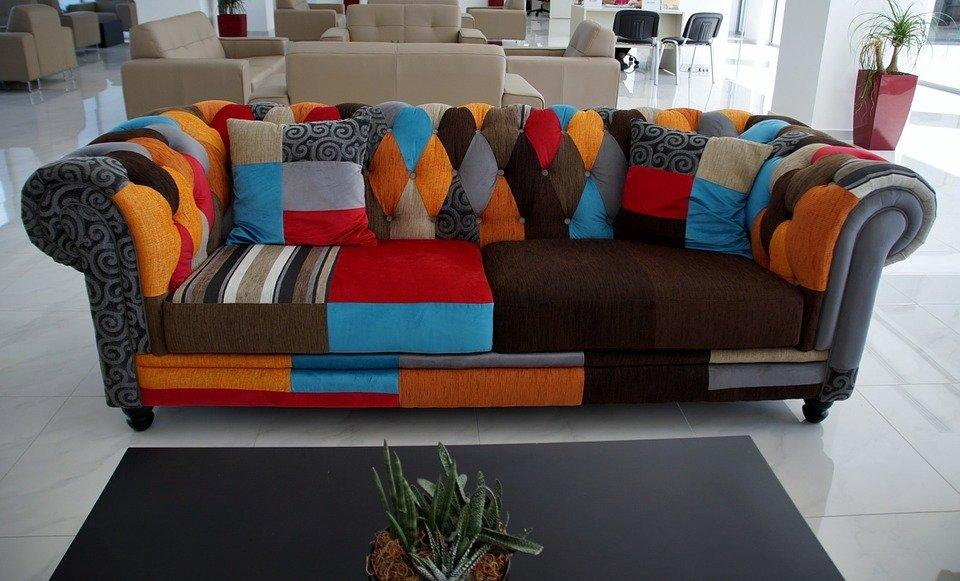 Upholstered Colorful Sofa